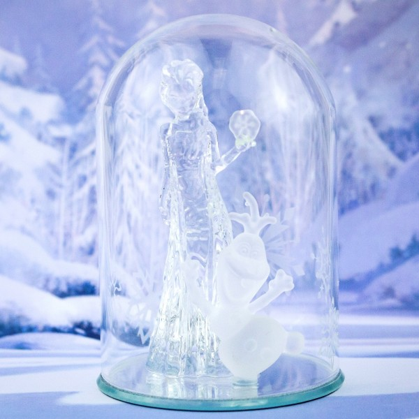 Elsa and Olaf Figure under a Glass Dome, Arribas Glass Collection