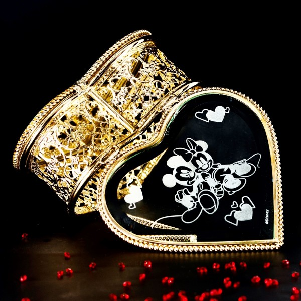 Mickey and Minnie Heart Jewellery Box, Arribas Collection