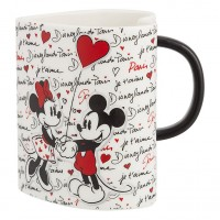Disney Mickey and Minnie Amour heart shaped mug