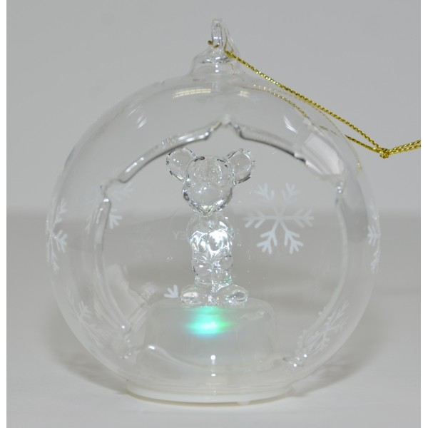 Mickey Mouse Illuminated Christmas Bauble, Arribas Glass Collection