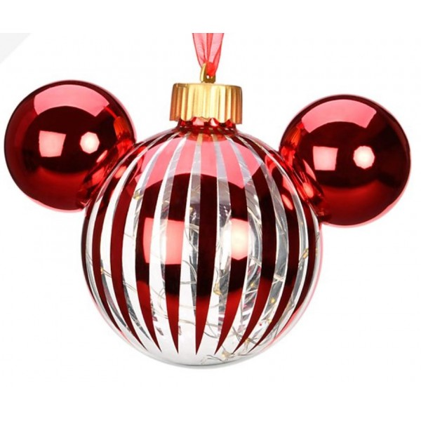 Disneyland Paris Mickey Mouse Icon Glass red light-up Christmas Bauble Ornament