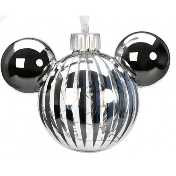 Disneyland Paris Mickey Mouse Icon Glass silver light-up Christmas Bauble Ornament