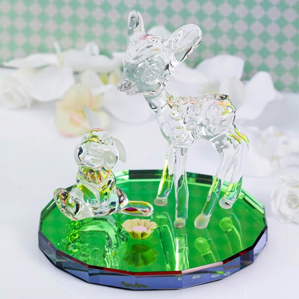 Disney Bambi and Thumper on Glass base Figurine, Arribas Glass Collection