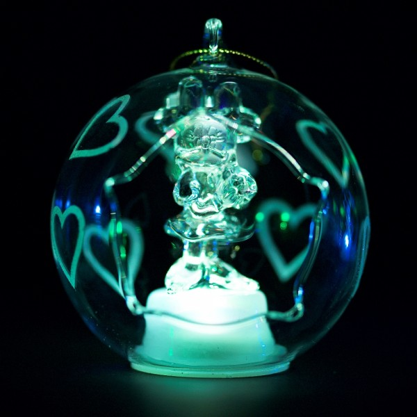 Minnie Mouse Illuminated Christmas Bauble, Arribas Glass Collection