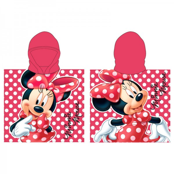 Minnie Mouse Red Hooded Poncho Towel For Kids - Disney
