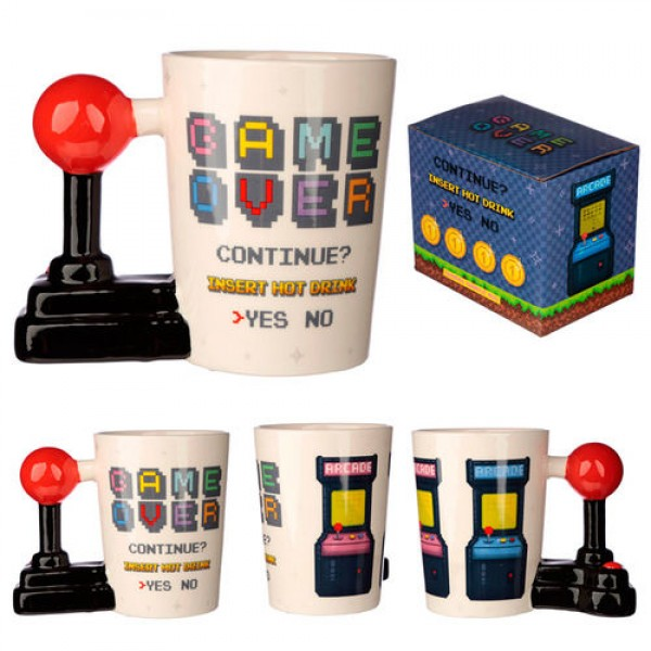 Joystick Shaped Handle Mug with Pixel Decal - Game Over