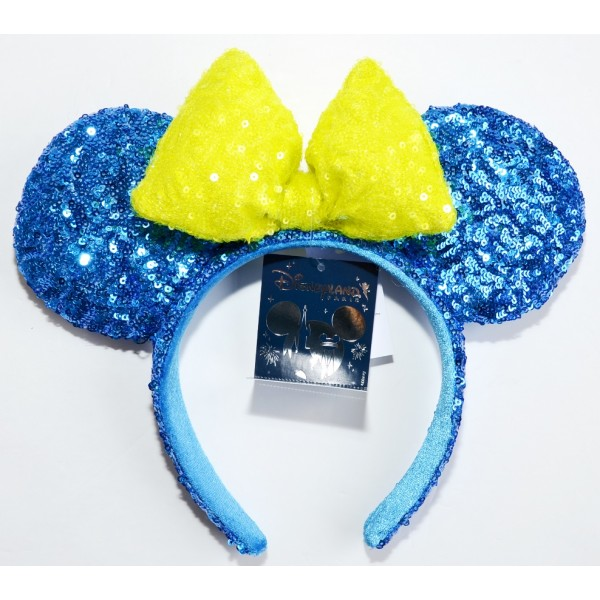 Disneyland Paris Minnie Mouse blue and green Sequined Ears Headband