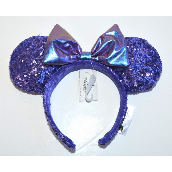 Disneyland Paris Minnie Mouse Ears Headband Purple Sequined