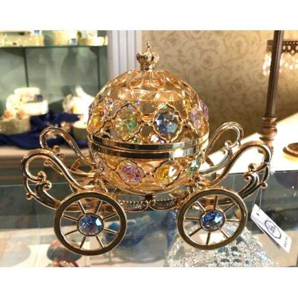 Cinderella Coach Arribas Swarovski 24k Gold Plated, Disneyland Paris Original