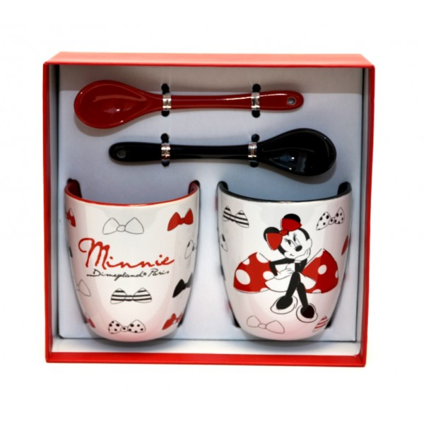 Disneyland Paris Minnie Mouse Espresso Cups and Spoons Set