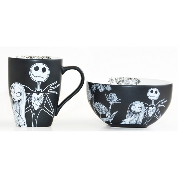 Nightmare Before Christmas Jack Skellington and Sally Black and White Mug and Bowl Breakfast Set