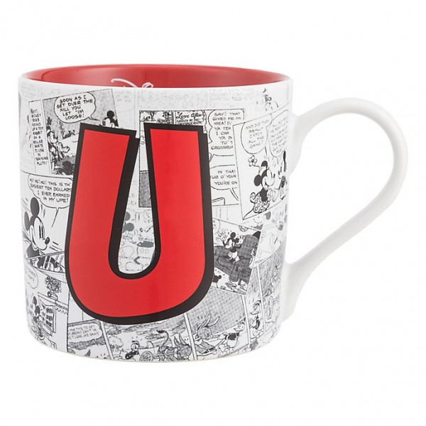 Mickey Mouse Comic-Style Print Mug with Letter U