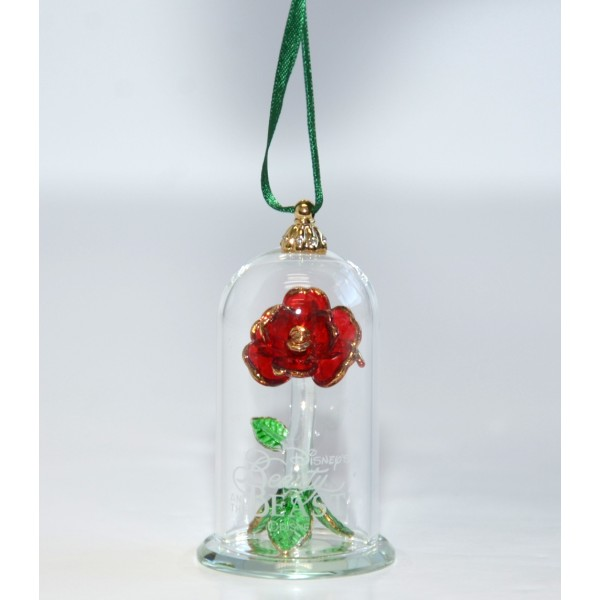 Beauty and the beast glass dome christmas ornament
