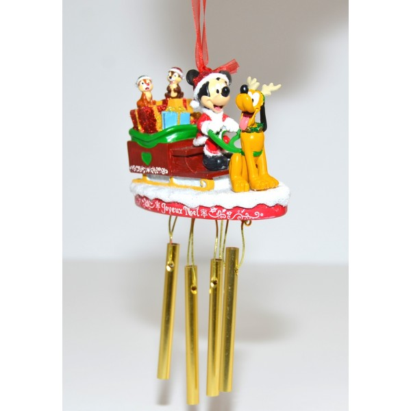 Mickey Mouse and Pluto raider in a sleigh ornament