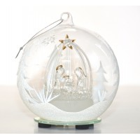 Nativity Light-up Large Glass Christmas Bauble Ornament