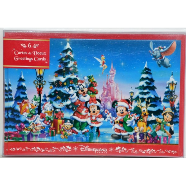 Disney Christmas Characters Greeting Postcards set of 6, Disneyland Paris