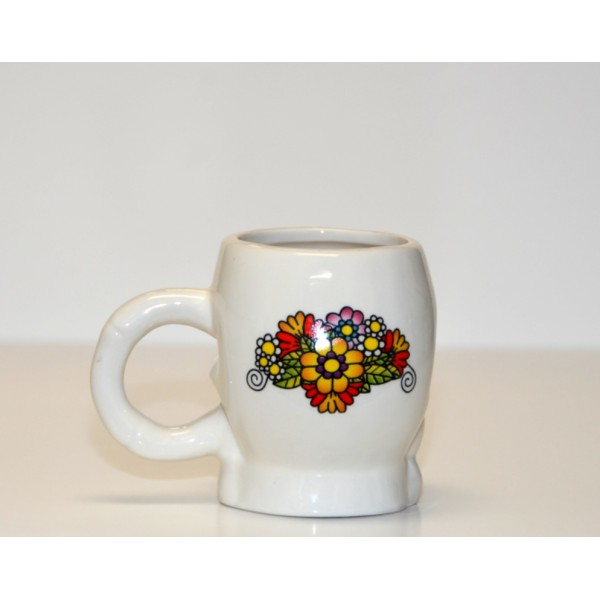 White Tribal Day of The Dead Skull Mug