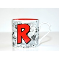 Mickey Mouse Comic-Style Print Mug with Letter R