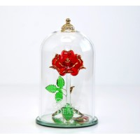 Beauty and the Beast Glass Dome Rose Ornament, Arribas Glass Collection (Small)