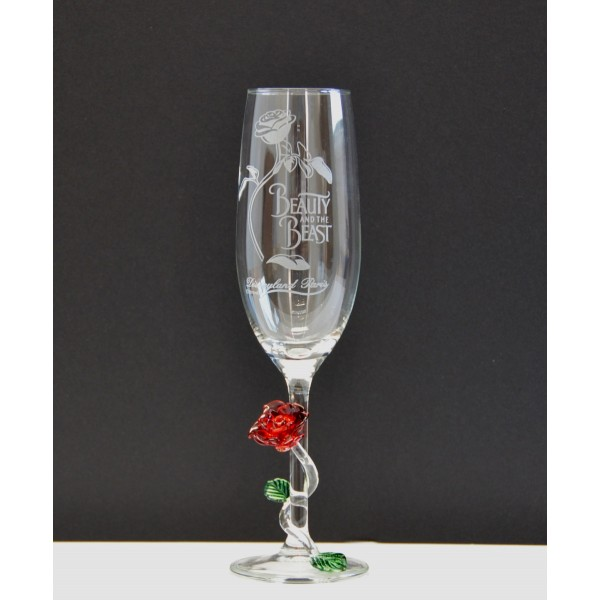 Beauty and the Beast Champagne Glass with Rose, Arribas Glass Collection