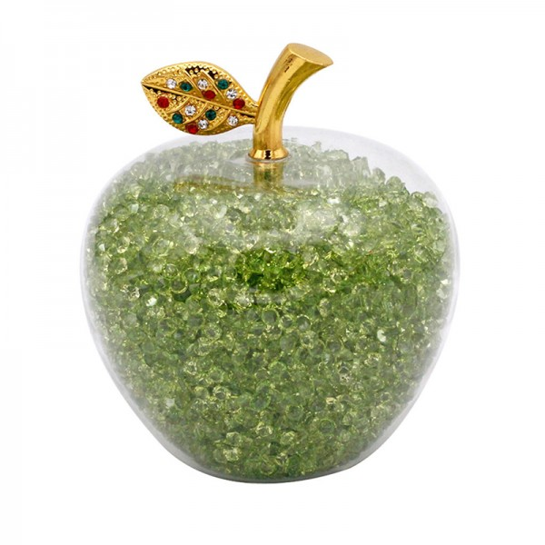 Glass Apple with Green Crystals, Arribas Glass Collection