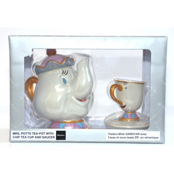 Disney Parks Beauty and the Beast Mrs Potts and Chip Teapot Teacup Saucer Set