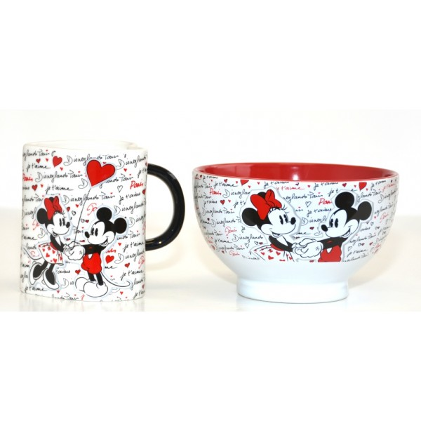 Disney Mickey and Minnie love Disneyland Paris mug and bowl Set