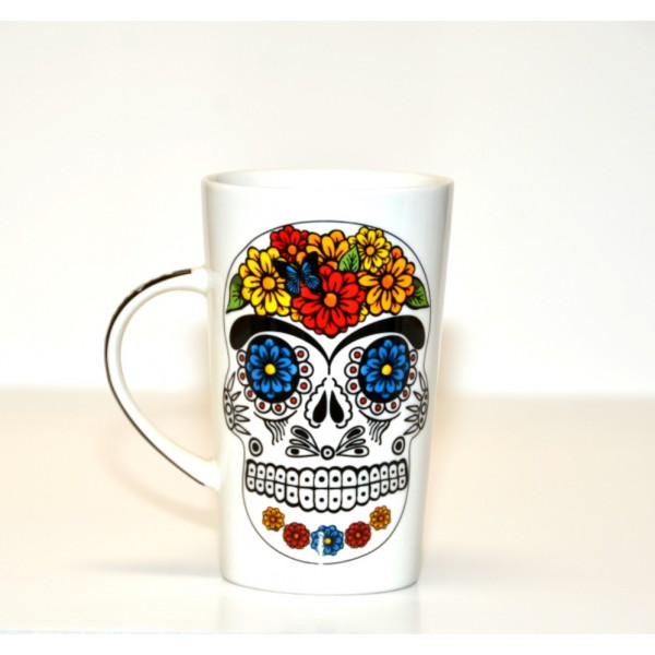 White Tribal Day of The Dead Mug