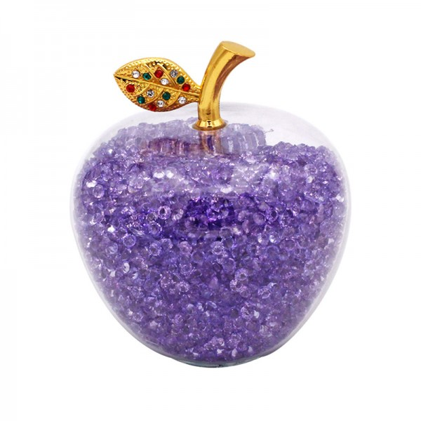 Glass Apple with Violet Crystals, Arribas Glass Collection