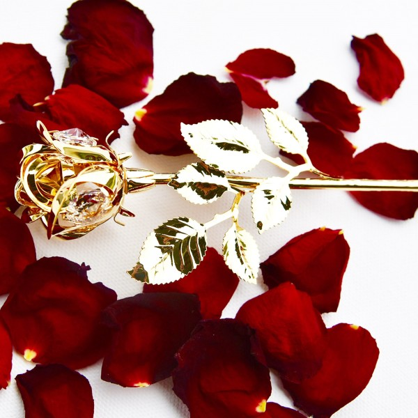 Gold Rose with Swarovski crystals, Arribas Collection