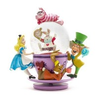 Disney Cheshire Cat Alice in Wonderland Spinning Mad Hatter Tea Cup Snow Globe