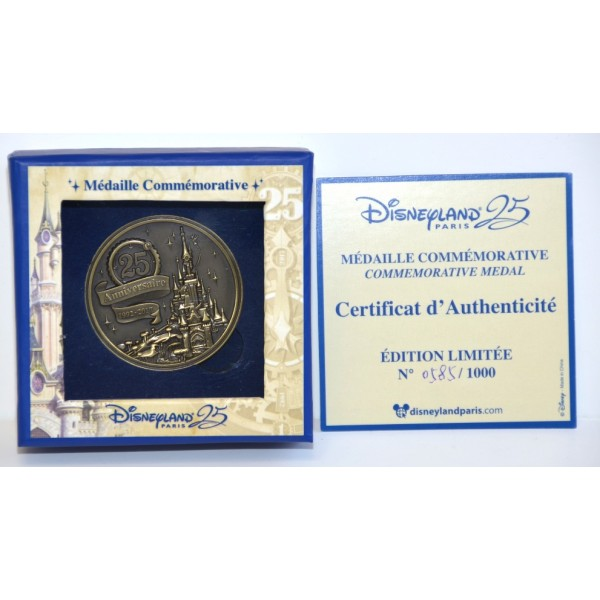 Disneyland Paris 25th Anniversary Commemorative Medal Limited Edition