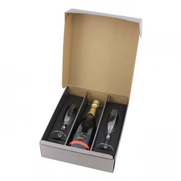 Silver Champagne & 2 Flutes Gift Pack