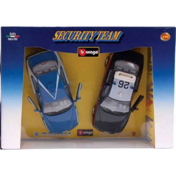 1.24 Bburago Security Team Polizia and Carabinieri Two Collectable Model Car Set