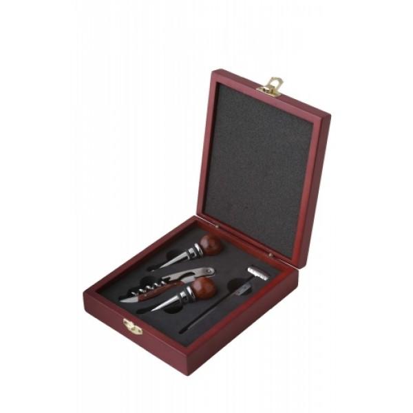 Wooden Box Wine Kit Set – 4PCS Accessories