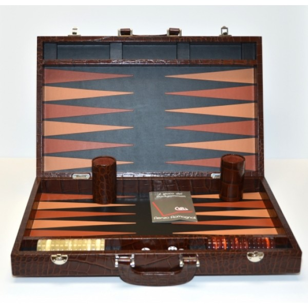 Brown Leather Backgammon Set By Renzo Romagnoli