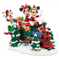 Santa Mickey Mouse & Friends on Train Figurine
