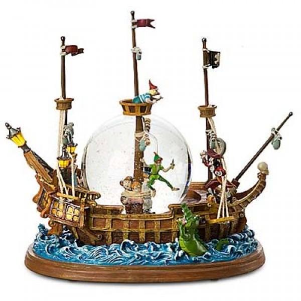 Disney Peter Pan Pirate Ship Snow Globe