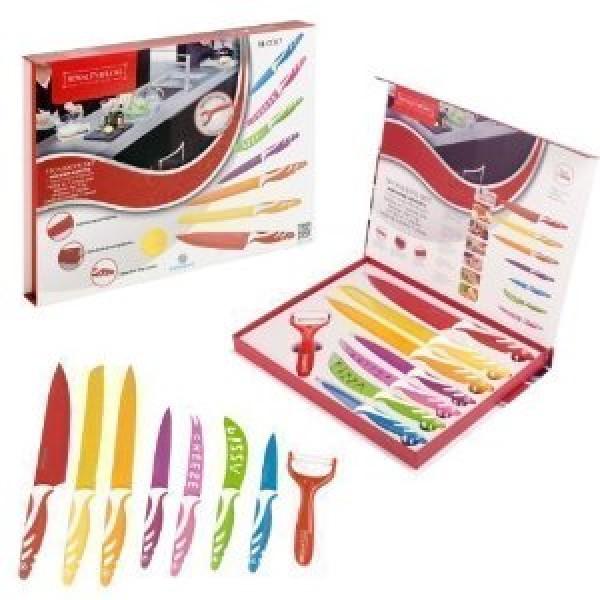 Royalty Line Swiss 7 Piece Non-Stick Multi Coloured Knife + Ceramic Peeler