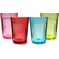 Multi Colour Drinking Glass ( 6 x glass )