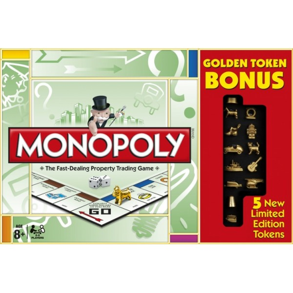 Monopoly Classic Game with 5 Gold Limited Edition Tokens