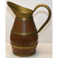 Big Brass Bound Staved Oak Wine Or Cider Jug