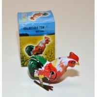 Vintage Wind Up Chick Cock Rooster Clockwork Tin Toy