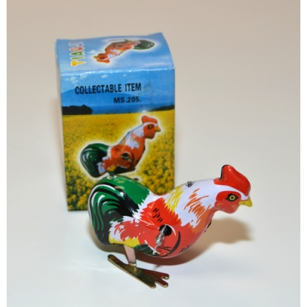 Vintage Wind Up Chick Cock Rooster Clockwork Tin Toy