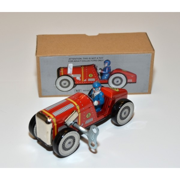 Replica Tin Toy Wind Up Action 1920's Red Racing Car #MS447