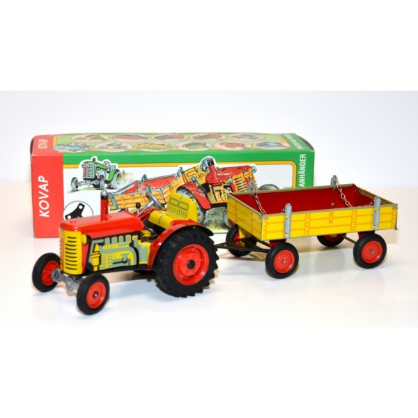 Zetor Tractor & Trailer combo Tin Toy