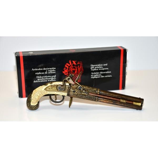 Double Barrelled Flintlock Pistol