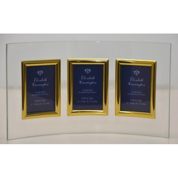 "Curved Crystal Glass Frame 3 (2""x3"") Gold Portrait"