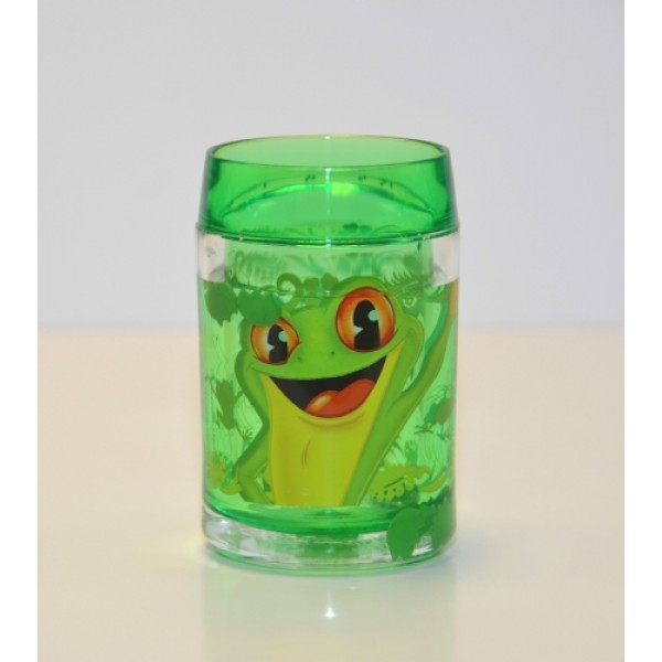 Rainforest Cafe green frog Plastic Glitter Cup