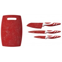 Royalty Line Three Piece Anti Bacterial Knife Set With Cutting Board (Red)